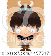 Clipart Of A 3d Happy Hispanic Boy Viking Over Strokes Royalty Free Vector Illustration