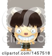 Clipart Of A 3d Grinning Ogre Boy Over Strokes Royalty Free Vector Illustration