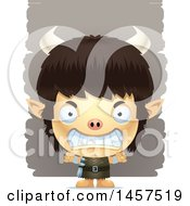 Clipart Of A 3d Mad Ogre Boy Over Strokes Royalty Free Vector Illustration