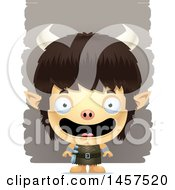 Clipart Of A 3d Happy Ogre Boy Over Strokes Royalty Free Vector Illustration