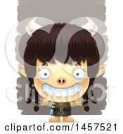 Clipart Of A 3d Grinning Ogre Girl Over Strokes Royalty Free Vector Illustration