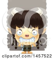 Clipart Of A 3d Mad Ogre Girl Over Strokes Royalty Free Vector Illustration