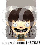Clipart Of A 3d Happy Ogre Girl Over Strokes Royalty Free Vector Illustration