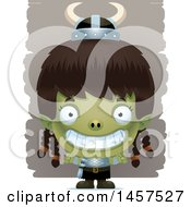 Clipart Of A 3d Grinning Goblin Girl Royalty Free Vector Illustration by Cory Thoman