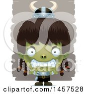 Clipart Of A 3d Mad Goblin Girl Royalty Free Vector Illustration by Cory Thoman