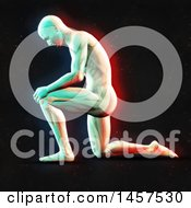 Clipart Of A 3d Medical Male Figure Kneeling With Visible Muscles With Dual Color Effect Over Black Royalty Free Illustration