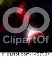 Clipart Of A 3d Fictional Planet And Red Nebula Royalty Free Illustration