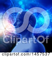 Clipart Of A 3d Male Human Head With Flares Of Light And Dna Double Helix Strands In Blue Tones Royalty Free Illustration