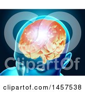 3d Head With Glowing Brain On Blue