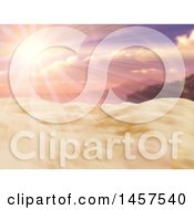 Clipart Of A 3d Sunset Sky With Ray Shining Over Sand Royalty Free Illustration