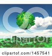 3d Green Planet Floating Over A Landscape With Trees