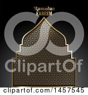 Clipart Of A Gold Patterned Silhouetted Mosque With Ramadan Kareem Text Over A Gradient Black Background Royalty Free Vector Illustration by KJ Pargeter