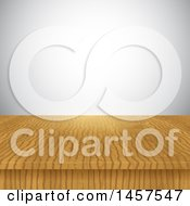 Clipart Of A Wooden Surface Against A Gray Wall Royalty Free Vector Illustration