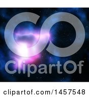 Clipart Of A Blue And Pink Galaxy And Stars In Outer Space Royalty Free Illustration