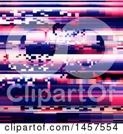 Clipart Of A Pink And Purple Distorted Glitch Effect Background Royalty Free Vector Illustration