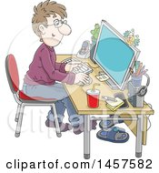Clipart Of A Cartoon White Man Working In A Home Office Royalty Free Vector Illustration by Alex Bannykh