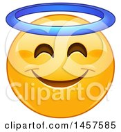 Clipart Of A Yellow Emoji Smiley Face With An Angel Halo Royalty Free Vector Illustration