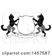 Clipart Of A Black And White Cat And Dog Heraldic Coat Of Arms Shield Royalty Free Vector Illustration
