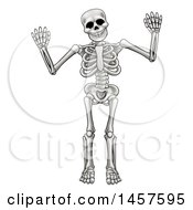 Clipart Of A Cartoon Grayscale Human Skeleton Holding Up Both Hands Royalty Free Vector Illustration