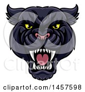 Clipart Of A Vicious Roaring Black Panther Mascot Head Royalty Free Vector Illustration by AtStockIllustration