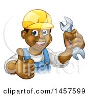Cartoon Happy Black Male Mechanic Holding Up A Wrench And Giving A Thumb Up
