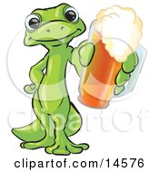 Green Gecko Standing On His Hind Legs One Hand On His Hip The Other Hand Holding Out A Golden Frothy Cup Of Beer