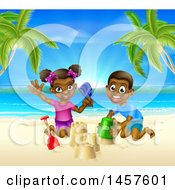Clipart Of A Happy Black Boy And Girl Playing And Building A Sand Castle On A Tropical Beach Royalty Free Vector Illustration by AtStockIllustration