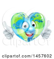 Clipart Of A Happy Earth Globe In The Shape Of A Heart Character Giving Two Thumbs Up Royalty Free Vector Illustration by AtStockIllustration