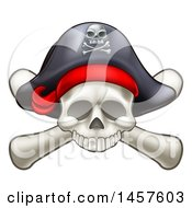Clipart Of A Skull And Crossbones Jolly Roger With A Pirate Hat Royalty Free Vector Illustration