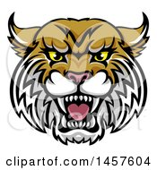 Clipart Of A Vicious Wildcat Mascot Head Royalty Free Vector Illustration