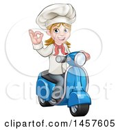 Cartoon Happy White Female Chef Gesturing Ok And Riding A Scooter