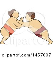 Clipart Of A Mono Line Styled Match Between Sumo Wrestlers Pushing Royalty Free Vector Illustration by patrimonio