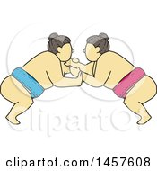 Clipart Of A Mono Line Styled Match Between Sumo Wrestlers Royalty Free Vector Illustration by patrimonio