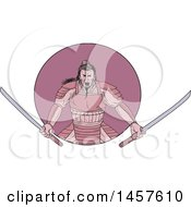 Clipart Of A Drawing Styled Samurai Warror Wielding Two Katana Swords In A Purple Circle Royalty Free Vector Illustration