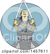 Clipart Of A Drawing Styled Samurai Warror With Crossed Arms And Swords In A Blue Circle Royalty Free Vector Illustration by patrimonio
