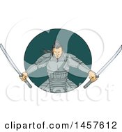 Clipart Of A Drawing Styled Samurai Warror Wielding Two Katana Swords In A Teal Circle Royalty Free Vector Illustration by patrimonio