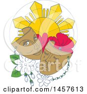 Clipart Of A Mono Line Styled Phillipine Sun Hibiscus And Jasmine Flowers With Theater Masks Royalty Free Vector Illustration by patrimonio