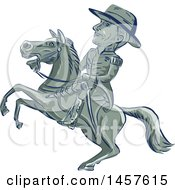 Clipart Of A Cartoon Sketched American Cavalry Officer On Horseback Royalty Free Vector Illustration