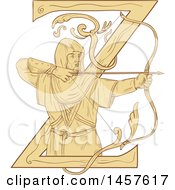 Clipart Of A Drawing Styled Medieval Archer Aiming An Arrow Over A Letter Z Royalty Free Vector Illustration by patrimonio