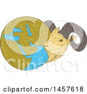 Clipart Of A Sketched Drawing Styled Globe Of The Middle East With A Goat Royalty Free Vector Illustration