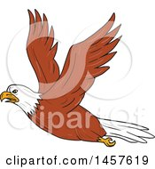 Clipart Of A Cartoon Bald Eagle In Flight Royalty Free Vector Illustration