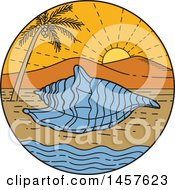 Poster, Art Print Of Mono Line Styled Conch Sea Shell On A Tropical Beach In A Circle With A Sunset