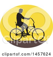 Clipart Of A Retro Silhouetted Man Riding An Easy Rider Bicycle In An Oval Royalty Free Vector Illustration