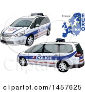 French Police Car Shown From Two Different Angles With A Map And Euro Police Text