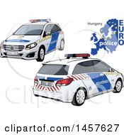 Hungarian Police Car Shown From Two Different Angles With A Map And Euro Police Text