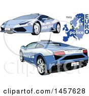 Italian Police Car Shown From Two Different Angles With A Map And Euro Police Text
