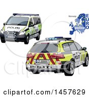 Norwegian Police Car Shown From Two Different Angles With A Map And Euro Police Text