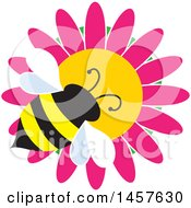 Clipart Of A Bumble Bee On A Pink Daisy Flower Royalty Free Vector Illustration