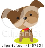 Clipart Of A Cute Brown Pupppy Dog With His Head Cocked Royalty Free Vector Illustration