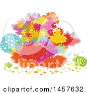 Clipart Of A Snail At A Colorful Coral Reef Royalty Free Vector Illustration by Alex Bannykh
